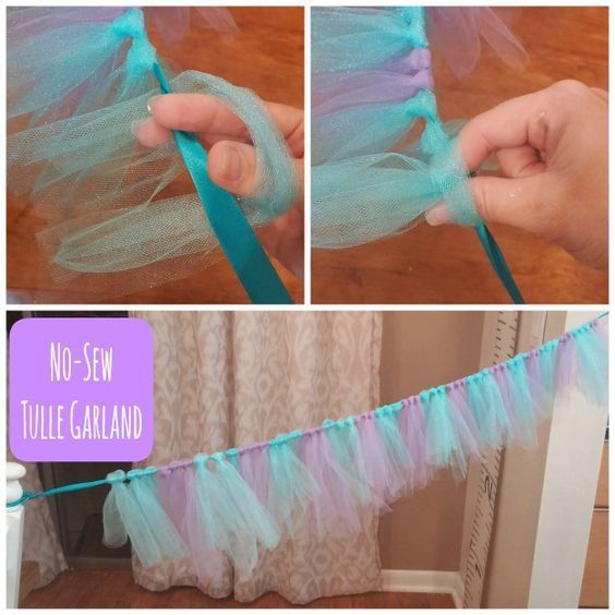 CRAFT: Super Easy Frozen Themed Tulle NO-SEW Garland #ellisonmade: