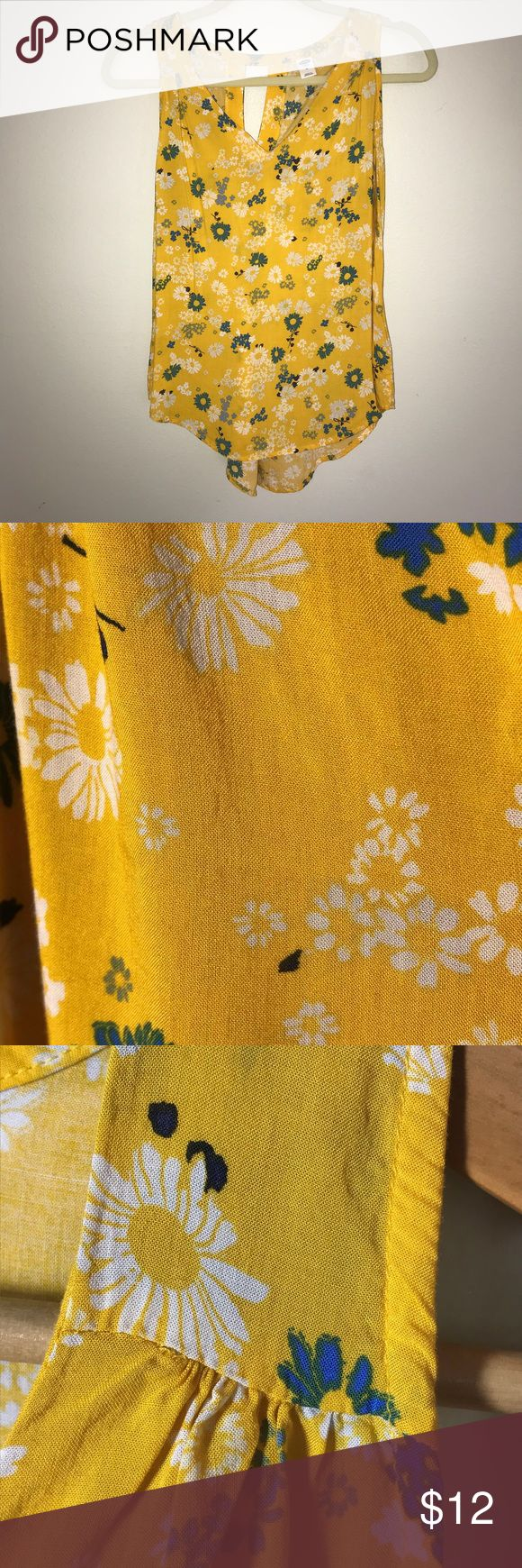 Yellow Flower Print Tank Cheery yellow tank with blue and white flower print. Perfect to jumpstart your spring wardrobe. Old Navy Tops Tank Tops
