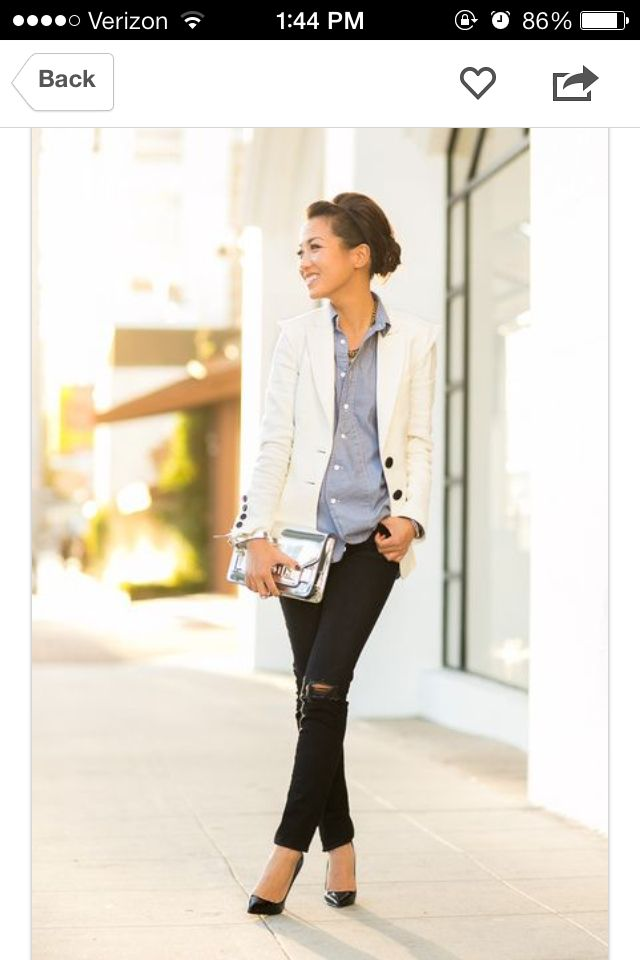 Soft chambray & destructed jeans w/ white blazer
