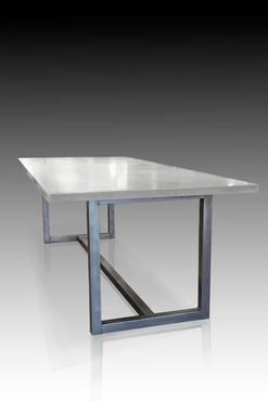 Los Angeles Rectangle Concrete Top Dining Table with Stainless Steel Base Custom Quotes Available Upon Request This table is suitable for year round exposure. For details: