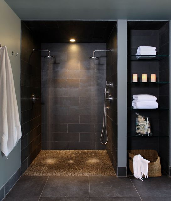 Double shower; also like shelving next to it; Want bench and shelving inside shower too