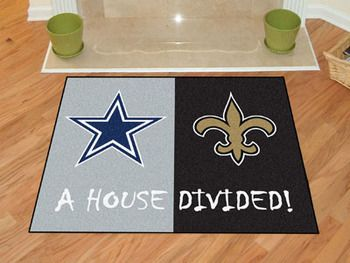 "NFL House Divided - Cowboys / Saints 1 House Divided Mat 33.75"""" X 42.5"""""