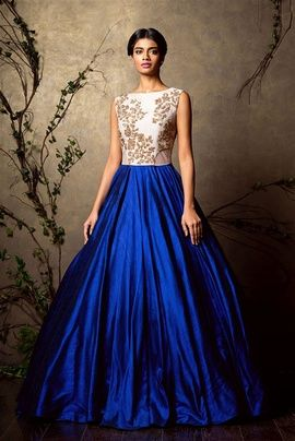 Cocktail Outfits - Off White and Blue Gown | WedMeGood Off White Boat Neck Blouse with Gold Embroidery and Royal Blue Silk Gown. #wedmegood #blue #gown