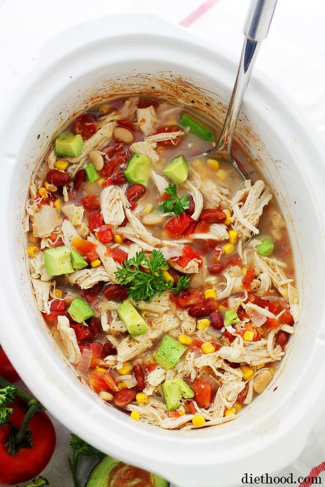 Crock Pot White Chicken Chili - A Healthy Southwestern Flavored Chili, Chock Full of Chicken, Corn, Tomatoes, and Beans...and a secret ingredient!