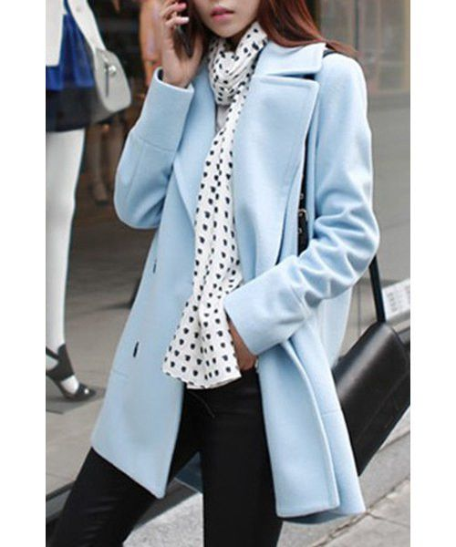 OL Style Turn-Down Collar Long Sleeve Solid Color Women's Peacoat. FREE SHIPPING