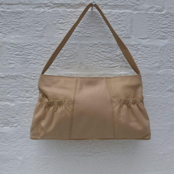 Purse leather handbag womans bag ladies creme by Regathered
