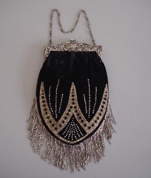 Art Deco beaded purseEvening Bags, Deco Beads, Beads Purses, Black Velvet, Beads Bags, Art Deco, Antiques, Cut Steel, Vintage Purses