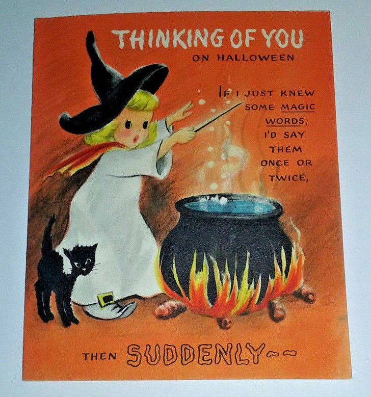 Vintage HALLMARK Halloween Card Witch Cauldron Black Cat 1950s