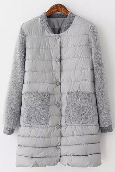 Faux Fur Spliced Stand Neck Coat                                                                                                                                                                                 More