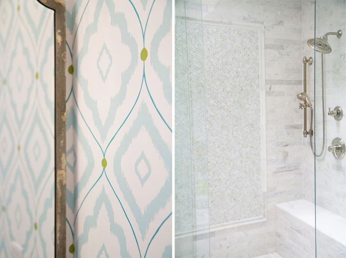 Thibaut wallpaper and great tile work in shower from EA Interior Design