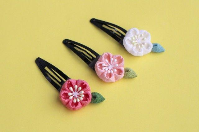 正絹 桜のぱっちんヘアピン つまみ細工 - あんみつゆっか