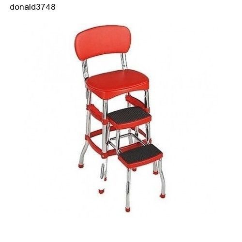 New!Cosco Red Retro Counter Chair Step Stool Folding Kitchen Bar Home or Office