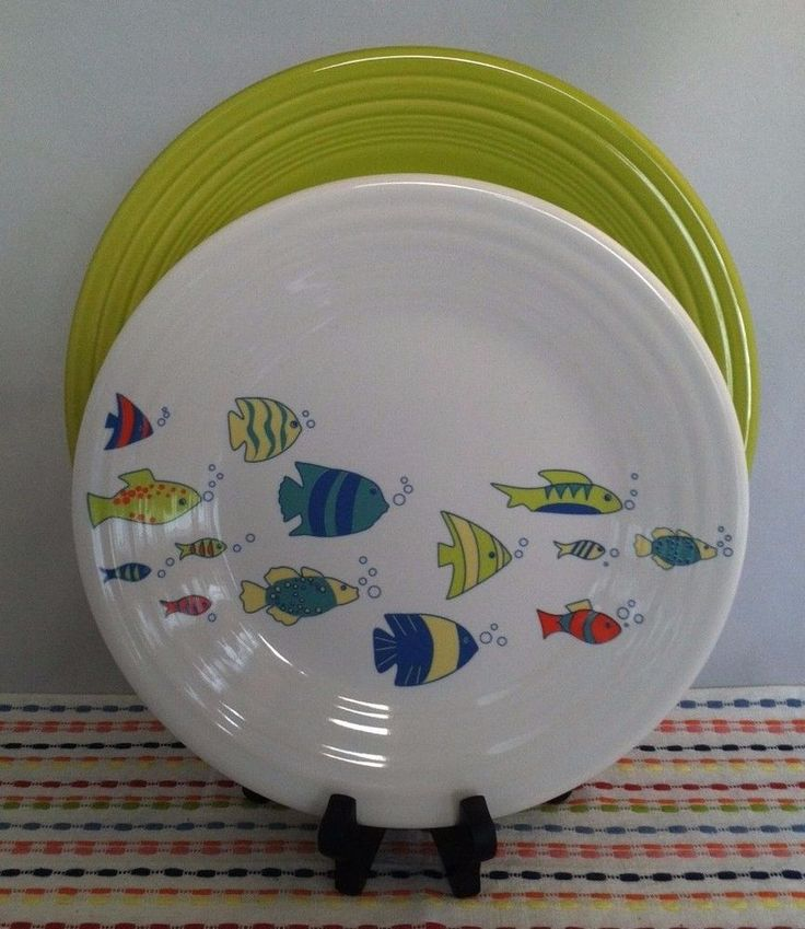 Fiesta®  Under the Sea  Luncheon Plate displayed with coordinating Lemongrass Dinner Plate. & 269 best D WV Homer Laughlin China Plate Patterns - Newell W V ...