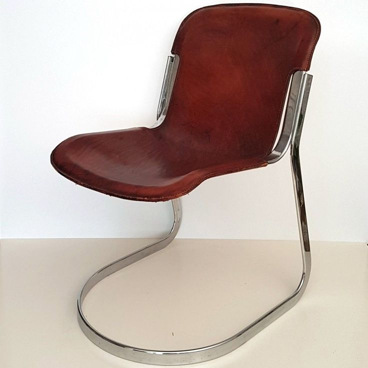 Cognac saddle leather chair by Willy Rizzo, 1970s #IndustrialChair
