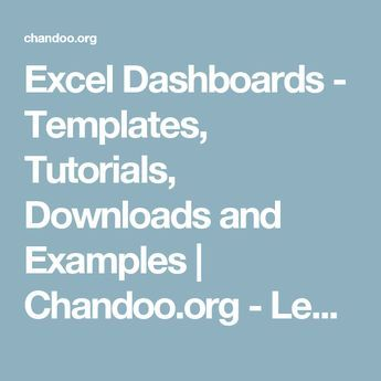 Excel Dashboards - Templates, Tutorials, Downloads and Examples | Chandoo.org - Learn Microsoft Excel Online