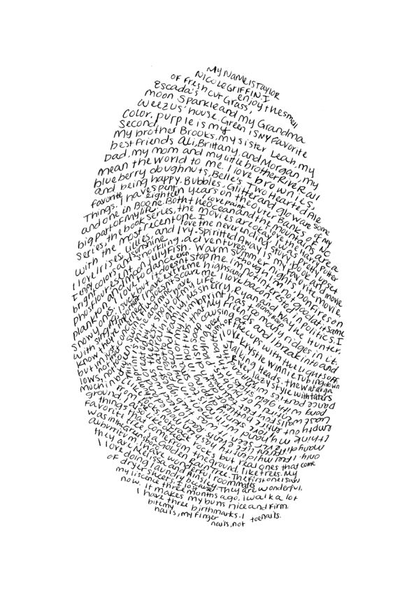 Writing a personal reflection in the shape of a fingerprint would be an interesting presentation of ideas