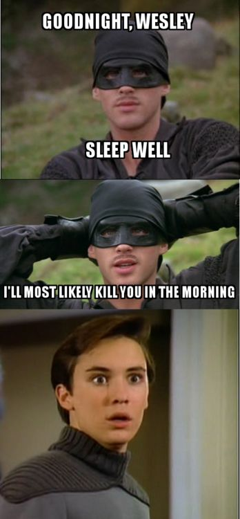 Oh, this is too funny.  And possibly the best thing ever - I mean, how can you beat The Princess Bride AND Star Trek?  You can't.