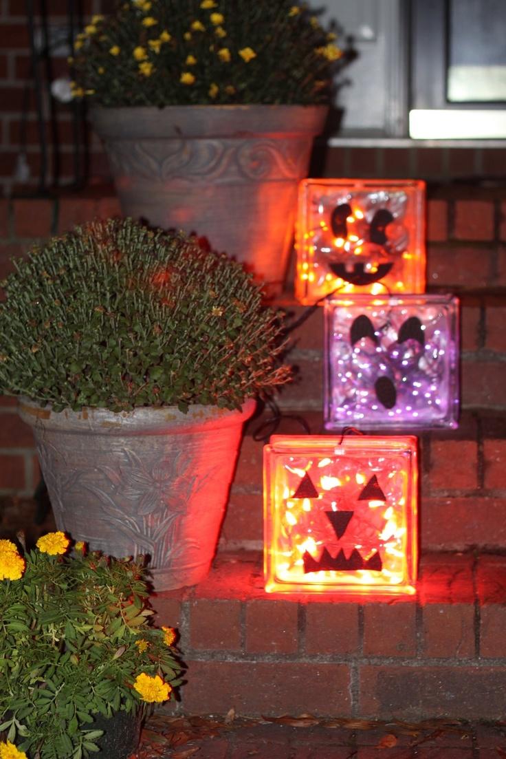 Glass block crafts projects - Glass Block Pumpkins