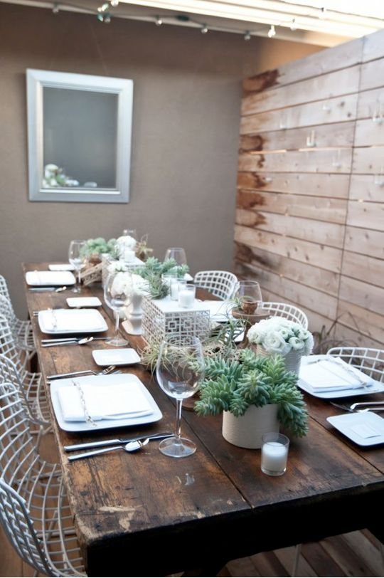 Dinner Party: Tables Sets, Outdoor Patio, Summer Dinners, Outdoor Dinners Parties, Wood Tables, Dinners Parties Backyard, Outdoor Tables, Succulents Centerpieces, Outdoor Spaces