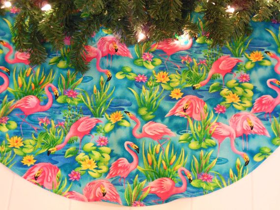 Tropical Christmas Tree Skirt Pink Flamingo by KaysGeneralStore