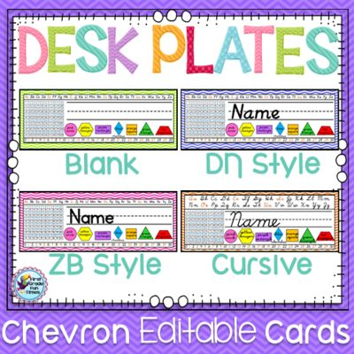 First Grade Fun Times from Name Tags - Desk Plates - Chevron on TeachersNotebook.com - (105 pages) - Editable chevron name tags/desk plates - cursive and both print styles included