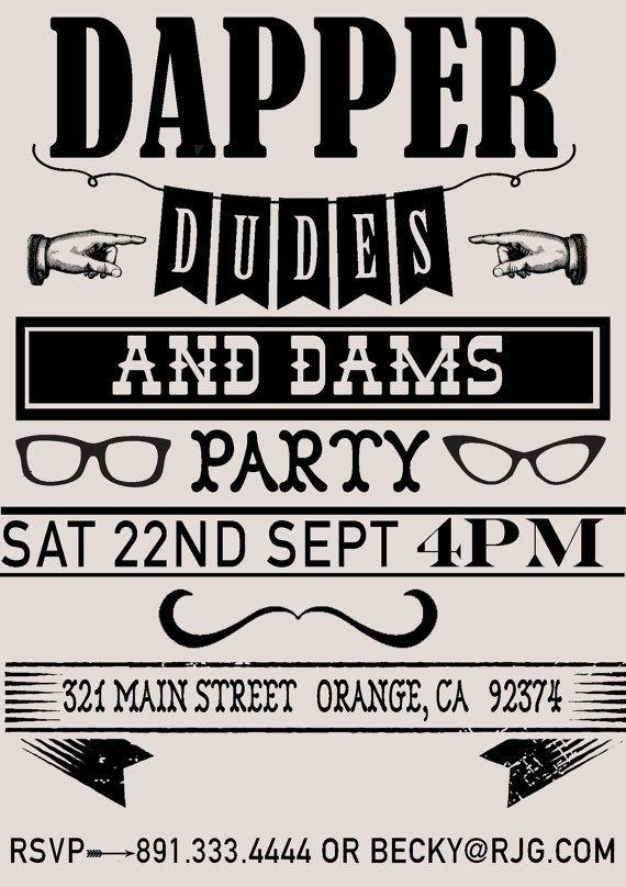 Dapper Dude Vintage Hipster Party Invitation