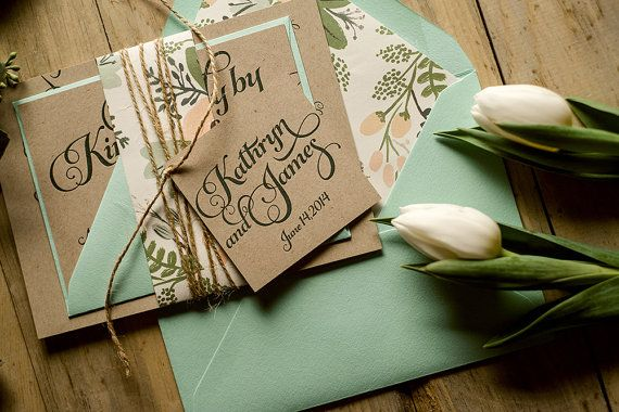 Rustic Wedding Invitation Mint & Kraft Wedding by FlairNecessities, $12.50