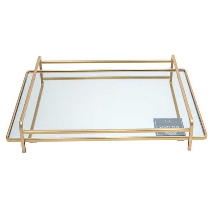 Home Details 4 Rail Large Vanity Mirror Tray In Gold Bed Bath