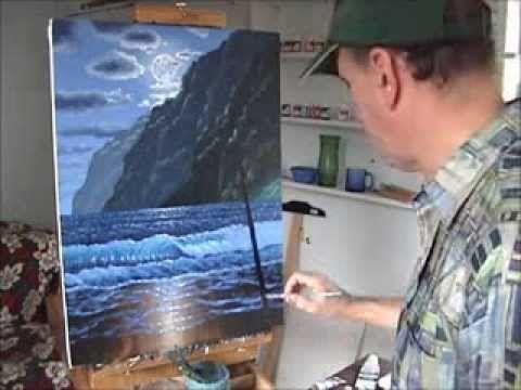 come dipingere la spiaggia e le montagne alle Hawaii durante la notte con acrilico su tela - YouTube