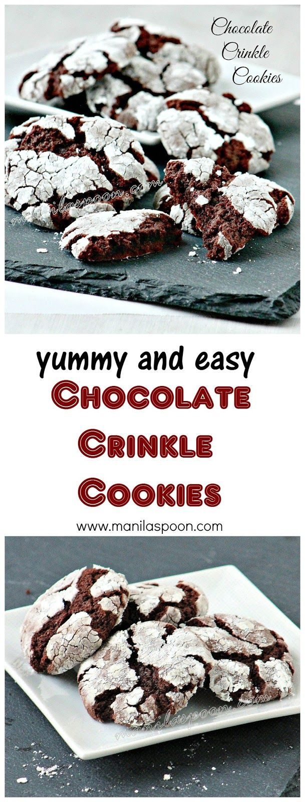 Fudgy, chewy, sweet and oh so yummy - Chocolate Crinkle Cookies. So easy to make as well. Perfect for the holidays!! | manilaspoon.com