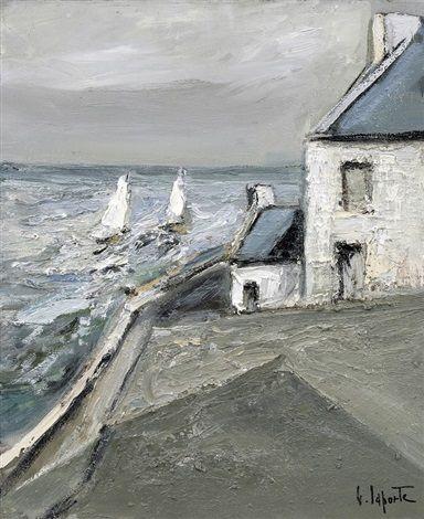 "Georges Laporte (1926-2000) ~ ""Ile de Sein, Bretagne"" ~ Huile sur Toile 61 x 50cm"