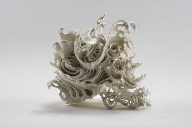"""Predictive Dream."" a series of intricate porcelain skulls by Japanese artist Katsuyo Aoki"