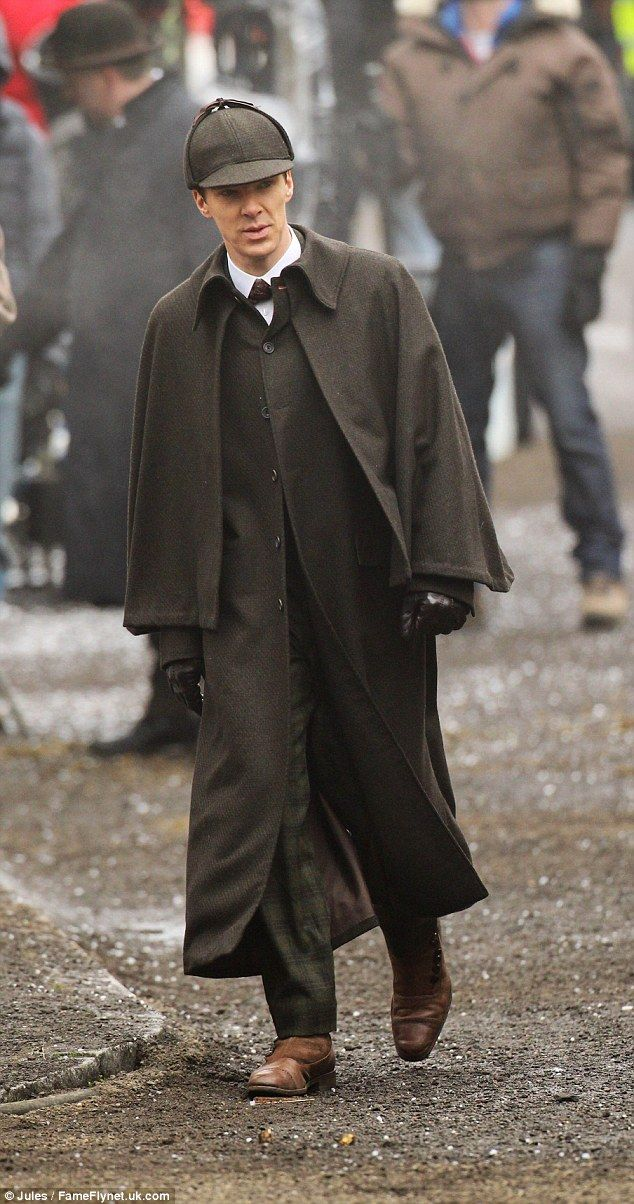 Back at it: Benedict Cumberbatch was seen on set once again as he filmed more Sherlock scenes in London on Saturday