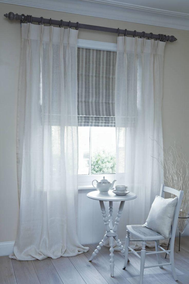 Dublin Roman Blind With Clare Voile Curtains On Pole