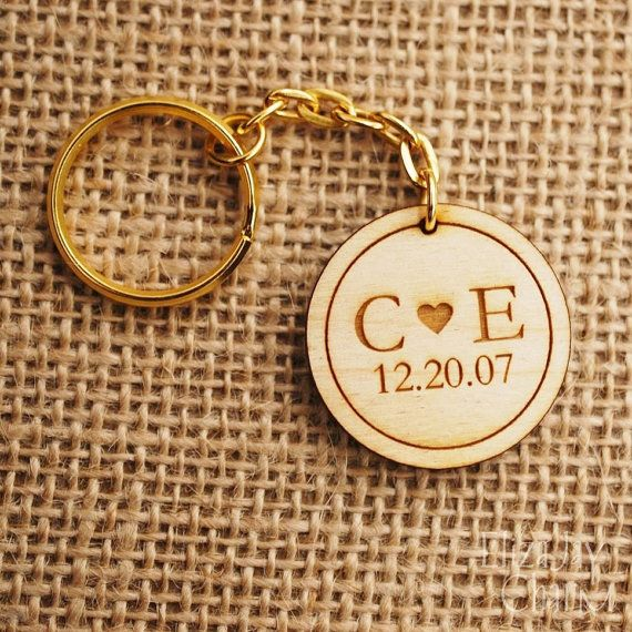 Initial hearts engraved wooden keychain by ElizajayCharm on Etsy