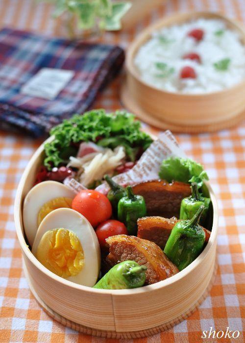 豚の角煮 煮玉子 しし唐・プチトマト 新生姜とたこの酢の物 カリカリ梅ご飯  お弁当 obento