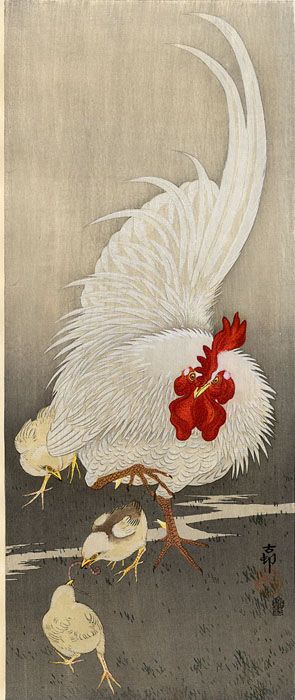 hanga gallery . . . torii gallery: Cock and Chicks by Ohara Koson