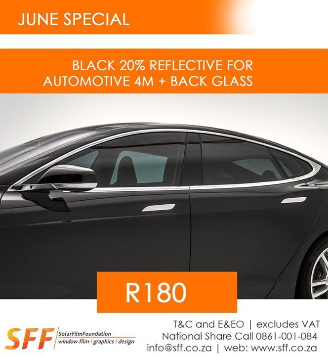 Black 20% Reflective for automotive 4m + back glass R180.00 ex vat
