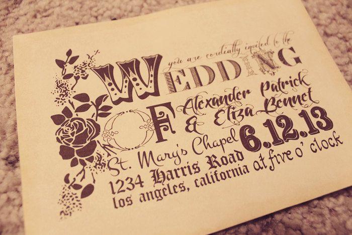 Vintage Wedding Invitation and rsvp (printable) (DIY).  via Etsy.