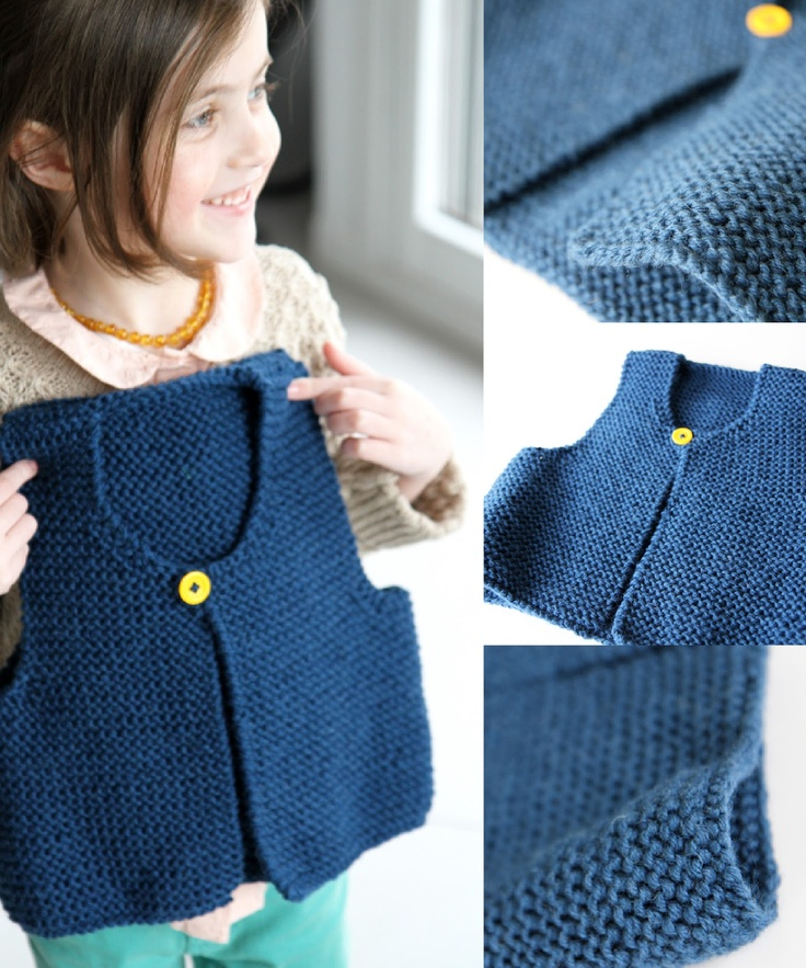 Le gilet small, free pattern in French by les tricots de Granny  This looks easy enough as my first knitting project from a pattern. Have to get stuck in at some point