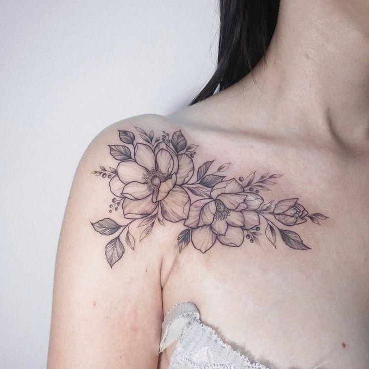 Scar Cover Up Tattoo Shoulder Collarbone Tattoo Artist Ig Irenebogachuk Artist Collarbone Cove Collar Bone Tattoo Shoulder Tattoo Flower Tattoo Shoulder