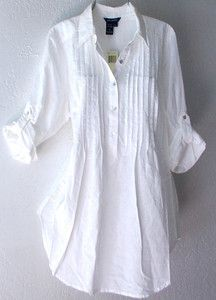 New $88 Max Studio Long White Ivory Linen Tunic Shirt Blouse Top 8 10 M Medium | eBay
