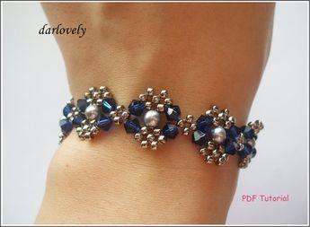 Swarovski Blue Silver Pearl Metal Bracelet BB025 PDF by darlovely