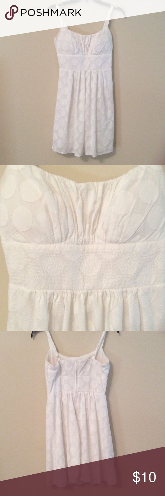 White Polka Dot Dress Gently used. Perfect for spring or summer. 100% Cotton, Lining 100% Polyester. B. Smart Dresses