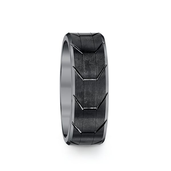 Tungsten Carbide Comfort Fit Men's Band with Gunmetal Tread Design Center and White Beveled Rims