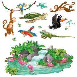 Scenesetters Jungle dieren tropisch - Een set met 8 wanddecoraties van tropische jungle dieren. Deze kunt u bijvoorbeeld ook over de jungle Scenesetter plakken om zo in de juiste sfeer te komen. Afmeting: van 5cm tot 162.5.