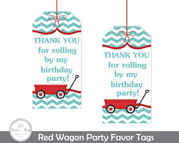Red Wagon Favor Tags Red Wagon Party Red Wagon Birthday Red