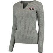 Georgia Bulldogs Colosseum Women's Alma Mater Cable Sweater - Gray
