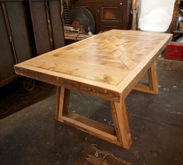 Reclaimed wood dining table with eye dazzler patterned top. Made by Salvare  Goods in Elysian - 15 Best Images About Reclaimed Wood Furnishings On Pinterest Los