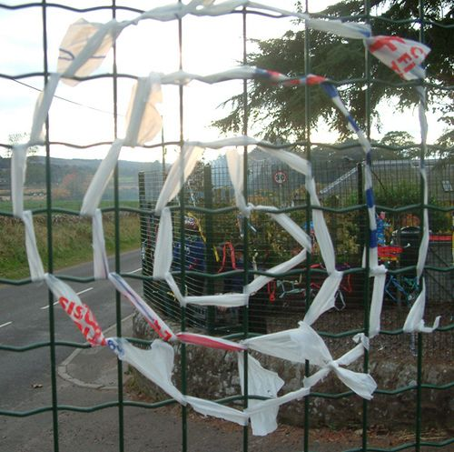 fence decorations chain link fence and andy goldsworthy. Black Bedroom Furniture Sets. Home Design Ideas